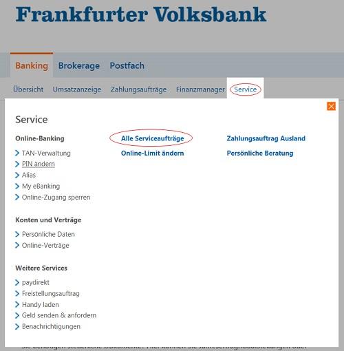 Alle Serviceaufträge im Online-Banking